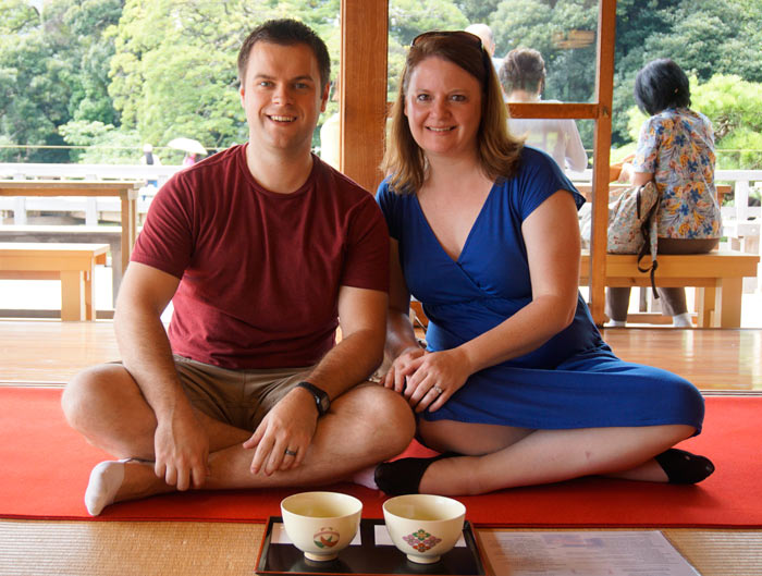 Nick & Laura at a tea ceremony in Japan