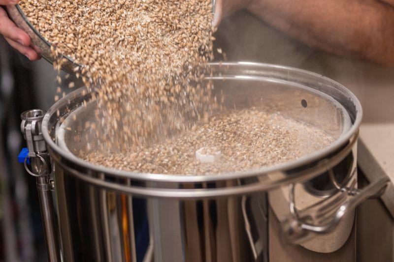Pouring grains into a pot