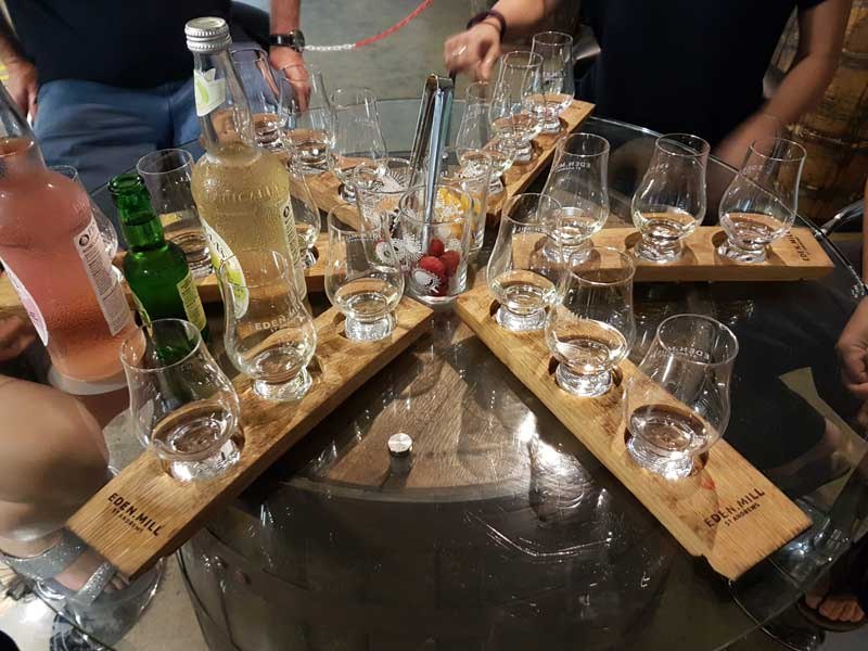 Eden Mill's extensive gin tasting that follows the tour