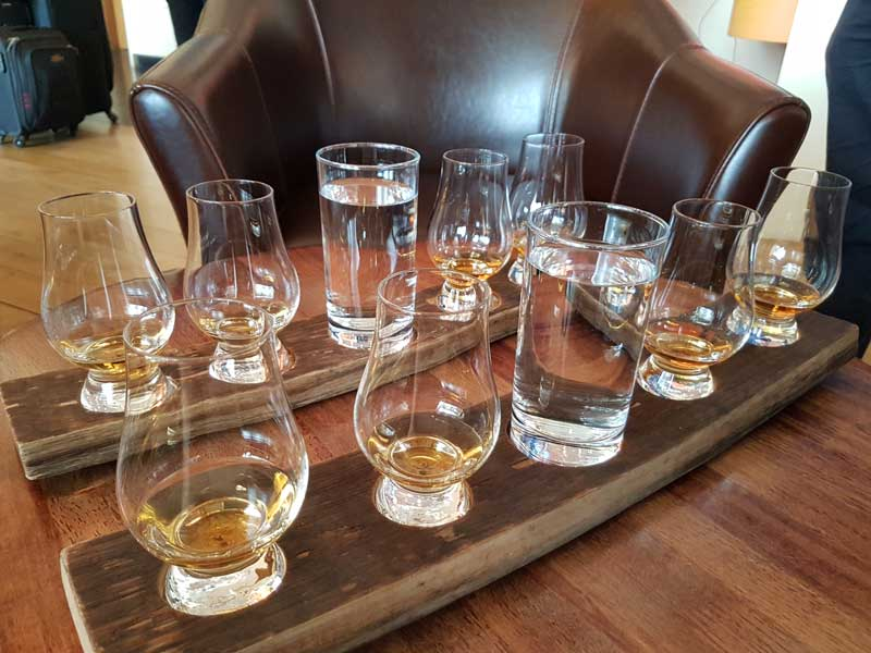 Whisky tasting flights are available at the bar
