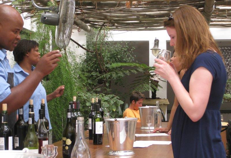 Tasting wine in Stellenbosch