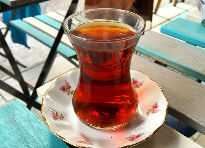 Turkish tea is always served in a tall glass