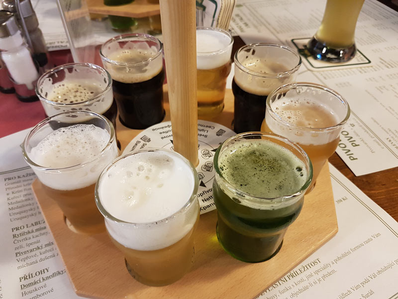 Taster tray of Pivovarsky Dum's 8 current beers