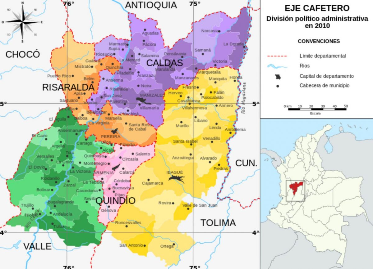 Map of the Coffee growing region in Colombia