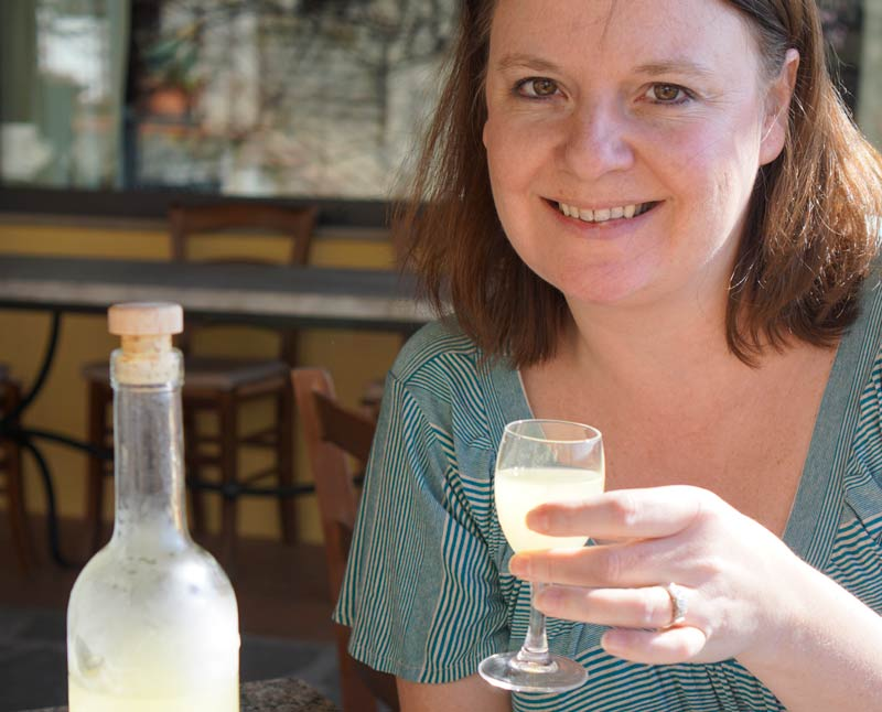 Drinking limoncello in Chianti, Italy.