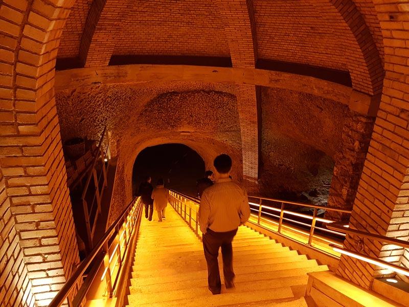 Descending into the Veuve Clicquot Chalk Caves