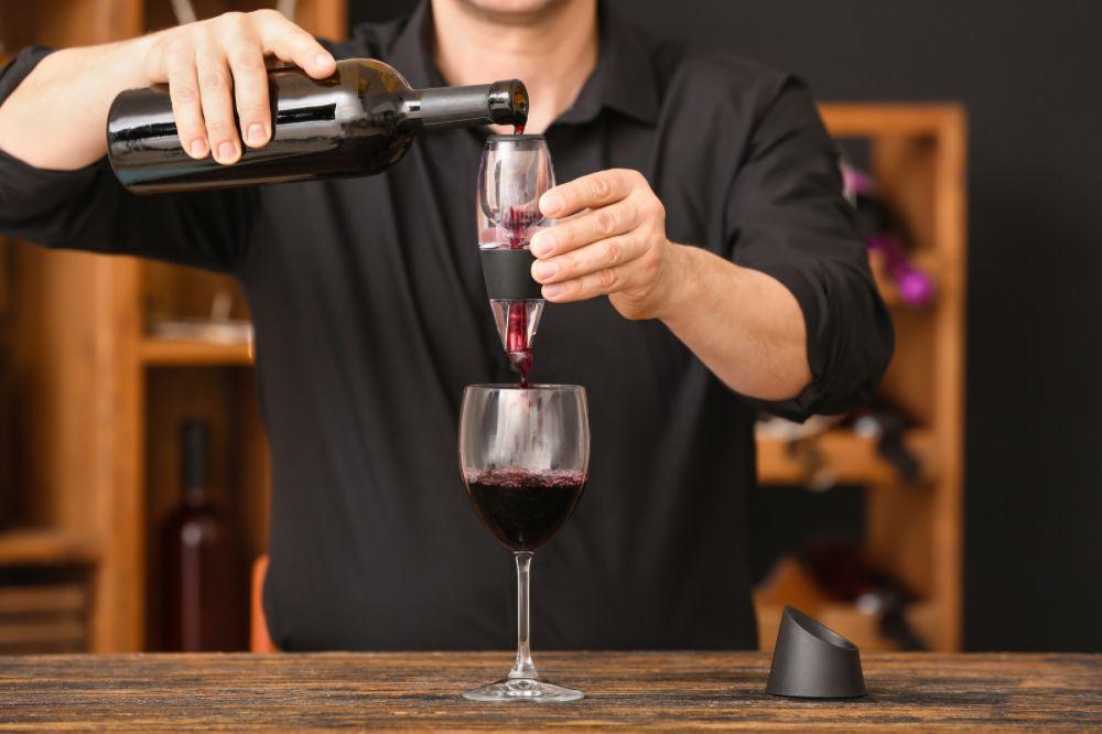 pouring wine through an aerator