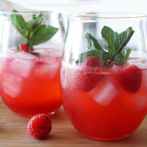Raspberry Gin Fizz Cocktail