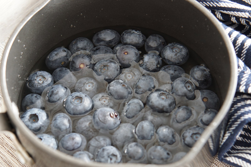 blueberries, sugar and water