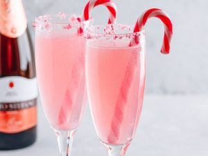 Peppermint Mimosas with Candy Canes