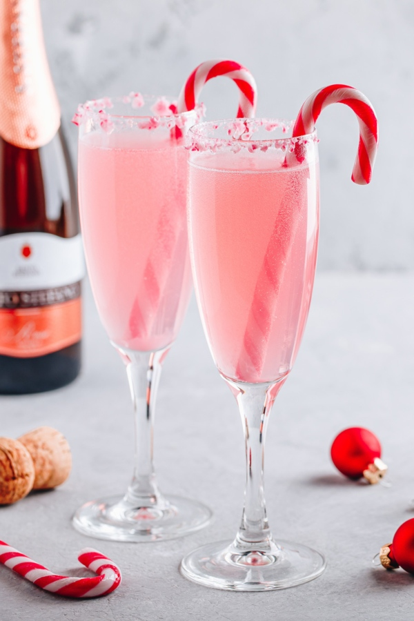 Peppermint Mimosa with Candy Canes