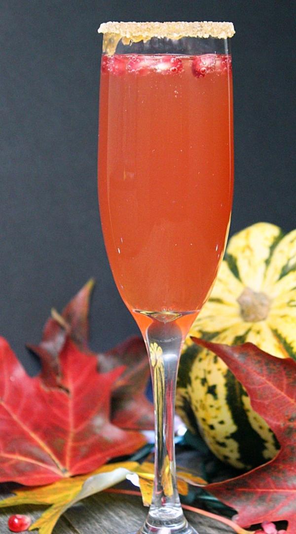 Caramel Apple Pomegranate Mimosa