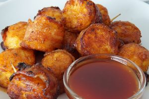 Bacon-Wrapped Tater Tots with Spicy Maple Glaze