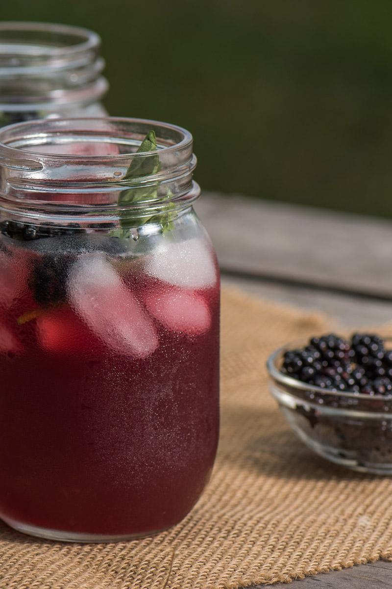Glass of blackberry iced tea