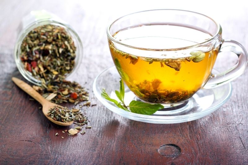 Tea cup with herbs