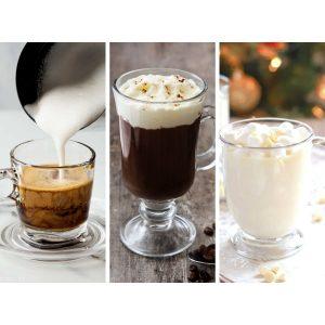 Ginger coffee, irish coffee, white hot chocolate