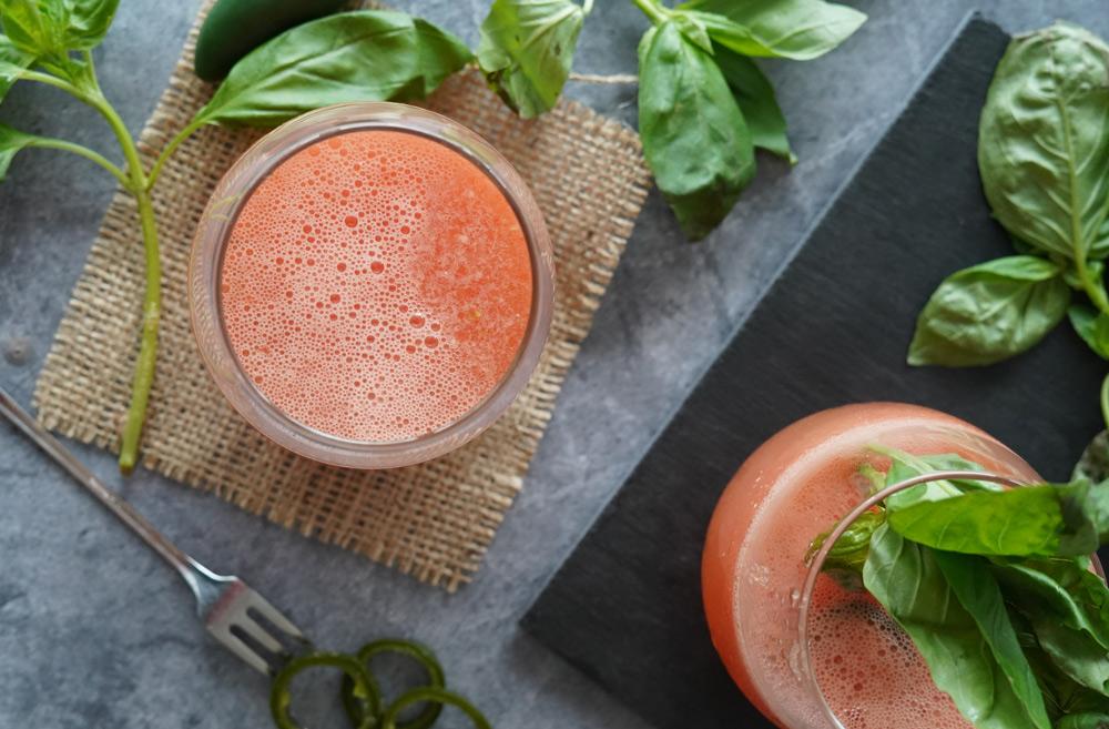 Watermelon margarita with basil