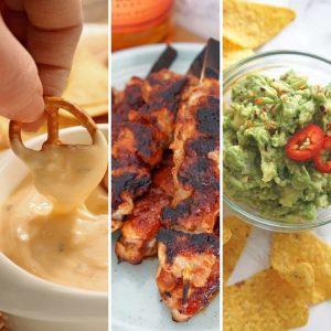 Beer dip, chicken skewers and guacamole